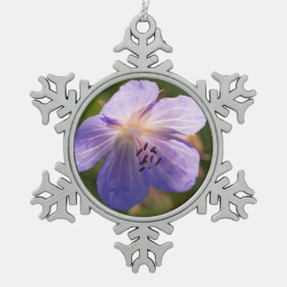 Meadow Cranesbill Flower Pewter Snowflake Decoration