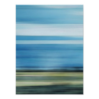 Meadow Field Sky Cloud Landscape Blue Green Gray Poster