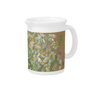 Meadow flowers, white daisies, wildflowers, floral drink pitchers