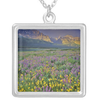 Meadow of wildflowers in the Many glacier Square Pendant Necklace