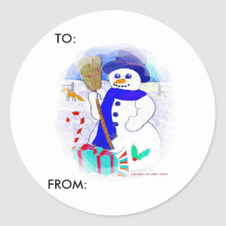 Meadow Snowman Round Sticker