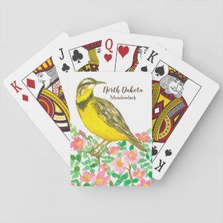 Meadowlark Wild Rose North Dakota Playing Cards