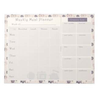 Meal Planner Purple Flower 2 Notepad