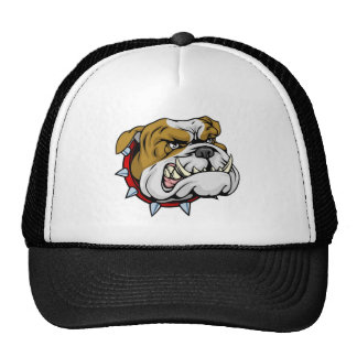 Mean bulldog mascot illustration mesh hats