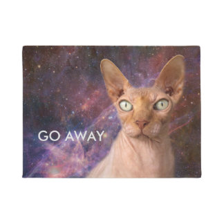 Mean cat says go away doormat
