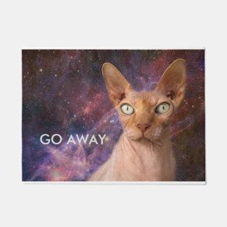 Mean cat says go away doormat
