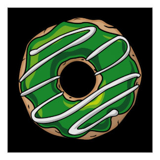 Mean Green Donut With Icing Poster