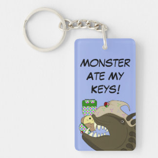 Mean Monster With Kawaii Person Double-Sided Rectangular Acrylic Key Ring
