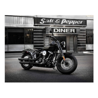 Mean Motorcycle with a Diner Postcard