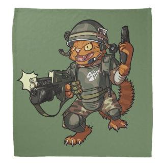 Mean Sci-fi Marine Ginger Cat Firing Gun Cartoon Bandana
