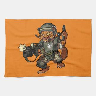 Mean Sci-fi Marine Ginger Cat Firing Gun Cartoon Towels