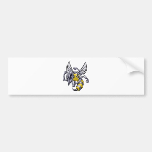 Mean wasp or hornet mascot bumper stickers
