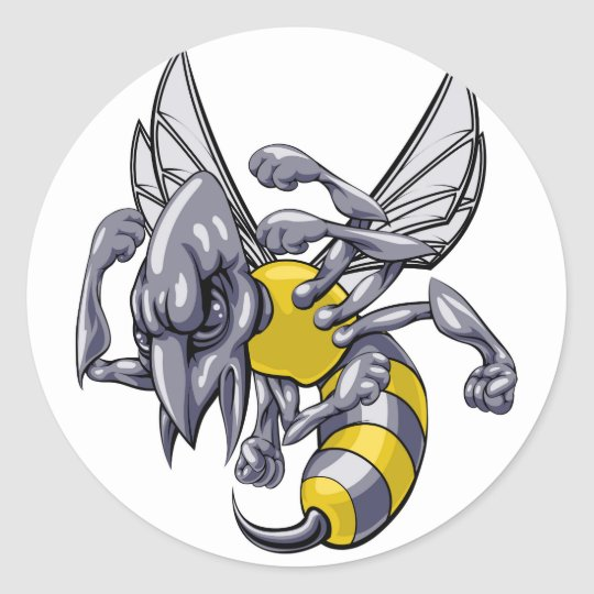 Mean wasp or hornet mascot classic round sticker