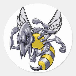 Mean wasp or hornet mascot round sticker