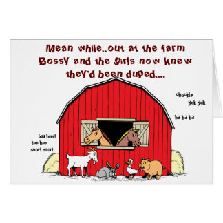 """""""Mean while, back at the farm"""" Greeting Card"""