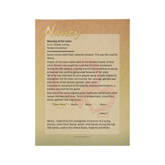 Meaning of the Name Nancy Wood Poster