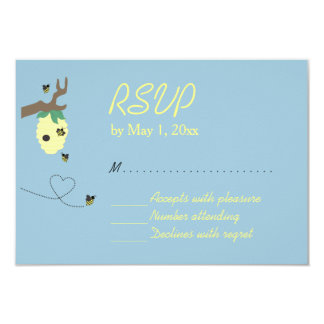 Meant To Bee Blue RSVP Card 9 Cm X 13 Cm Invitation Card