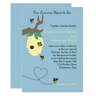 Meant to Bee Blue Spring Wedding Invitations