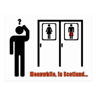 Meanwhile, in Scotland funny Scottish kilt joke Postcard
