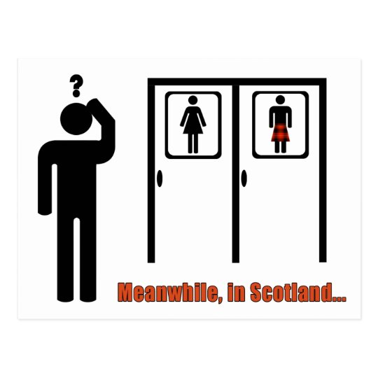 Meanwhile, in Scotland funny Scottish kilt joke Postcard