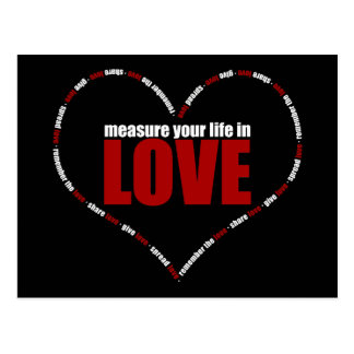 Measure Your Life In Love Heart Shaped Postcard