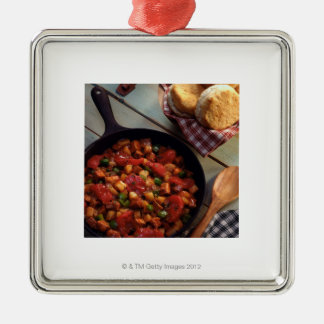 Meat and potato hash with biscuits Silver-Colored square decoration