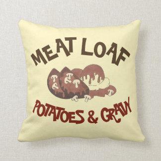 Meat Loaf Potatoes & Gravy Diner Food Meatloaf Cushion