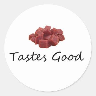 meat tastes good round sticker