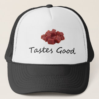 meat tastes good trucker hat