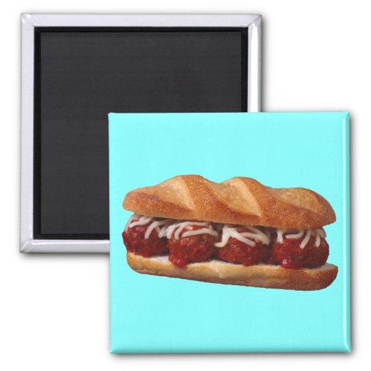 Meatball Sub Square Magnet