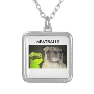 MEATBALLS Small Silver Plated Square Necklace