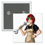 Mechanic Anime Girl Pinback Buttons