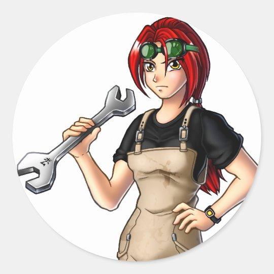 Mechanic Anime Girl Round Sticker
