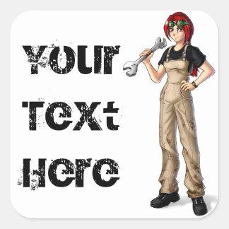 Mechanic Anime Girl Square Sticker