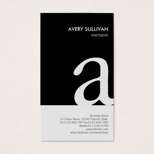 Mechanic Black White Monogram Business Card