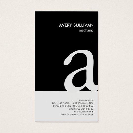 Mechanic Black White Monogram Business Card