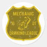 Mechanic Drinking League Round Sticker