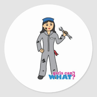Mechanic Girl - Medium Classic Round Sticker