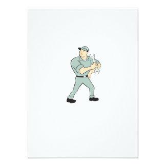 Mechanic Hold Spanner Wrench Cartoon 14 Cm X 19 Cm Invitation Card