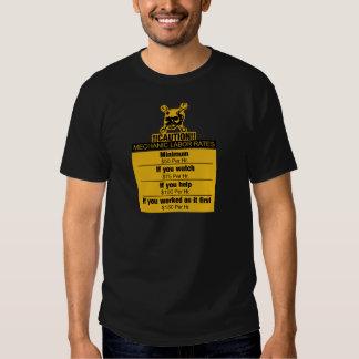 Mechanic labor rates - Caution Tee Shirts