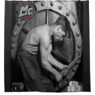 Mechanic mens black showercurtain shower curtain