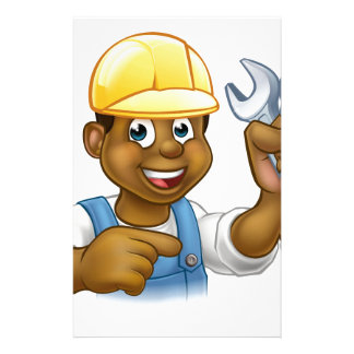Mechanic or Plumber With Spanner Cartoon Stationery