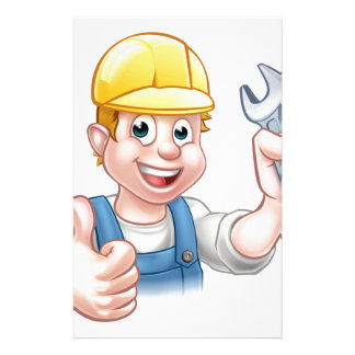 Mechanic or Plumber with Spanner Custom Stationery