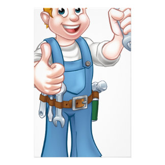Mechanic or Plumber with Spanner Customized Stationery
