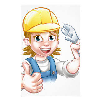 Mechanic or Plumber Woman Holding Spanner Stationery