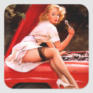Mechanic Pin Up Square Sticker