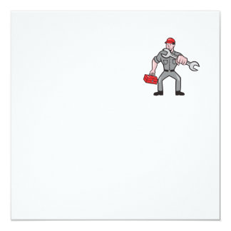 Mechanic Punching With Spanner Cartoon Personalized Invitation