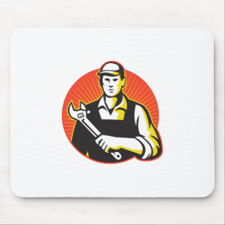 Mechanic Repairman With Adjustable Wrench Retro Mouse Pad