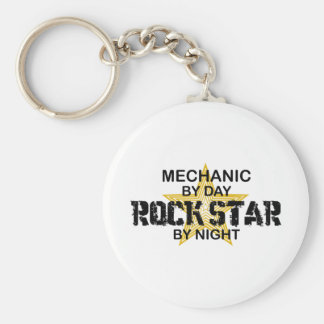 Mechanic Rock Star by Night Basic Round Button Key Ring