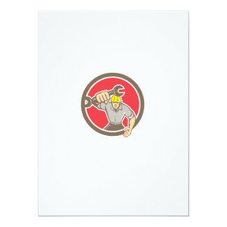 Mechanic Spanner Wrench Running Circle Retro Personalized Invitation